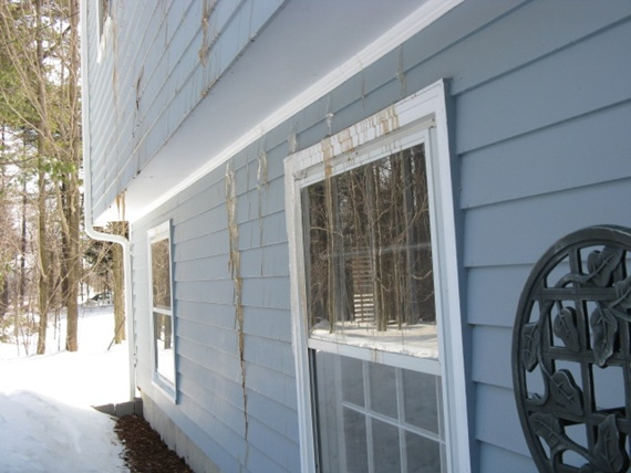 brown ice on siding