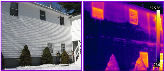infrared detects wet Masonite siding