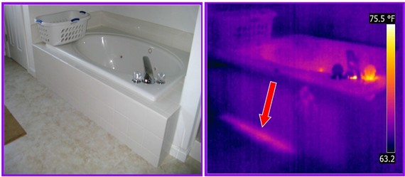 thermal imaging detects tub leak